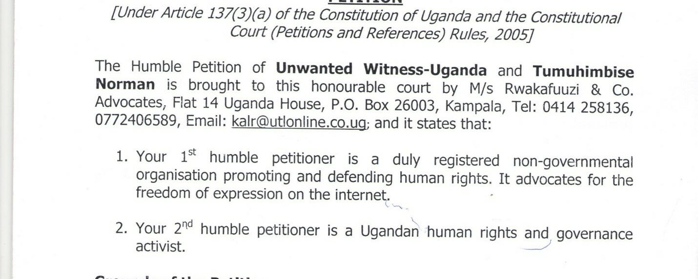 Uganda Communications Commission Act Petition