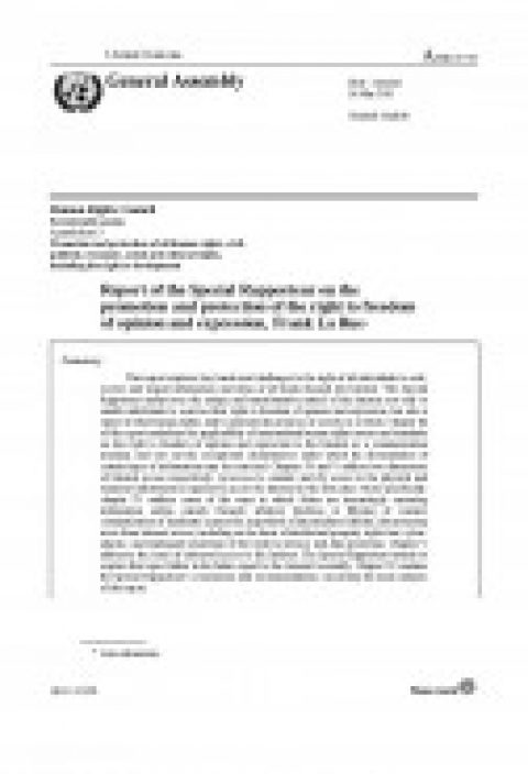 Report of the Special rapporteur on the promotion and protection of the right to freedom of opinion and expression