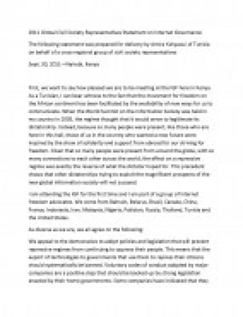 2011 Global Civil Society Representatives Statement on Internet Governance