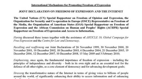International Mechanisms for Promoting Freedom of Expression