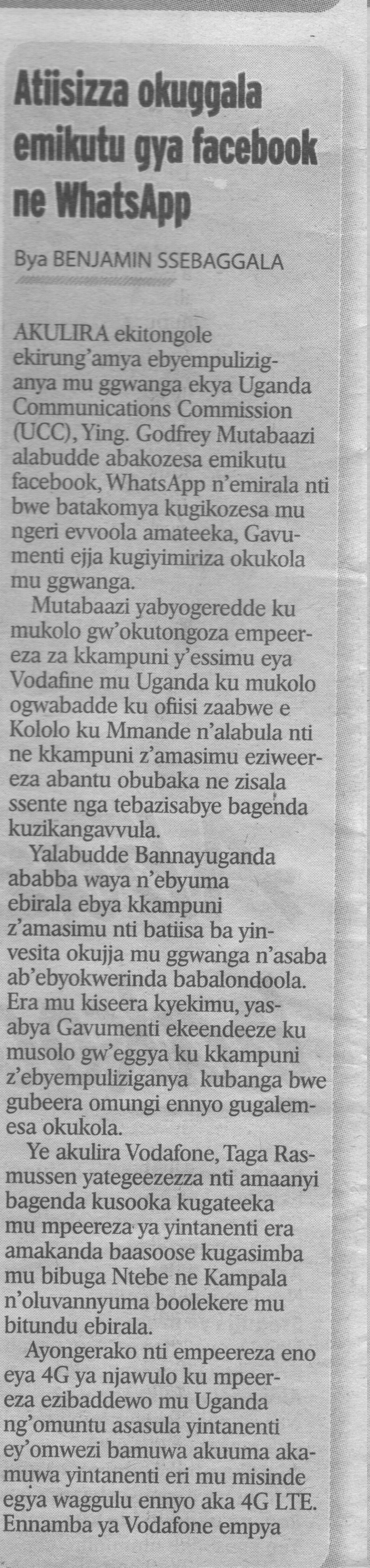 "The news paper article from a local daily ""Bukedde"" where Mutabaazi's threats were published"