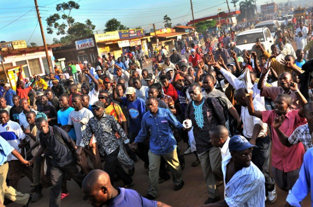 Ugandans during the 2012 walk to work protests.