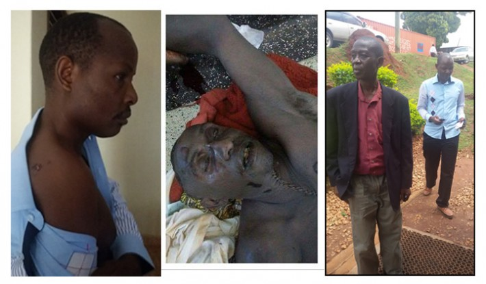 L-R: Charles Rwomushana shows off his wound obtained at the time of his kidnap, the controversial  corpse photo of Christopher Aine published by Charles Rwomushana and on the right with his lawyer Yunus Kasirivu while at SIU in Kireka