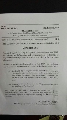 An image showing the details of the bill that seeks to regulate Social media.