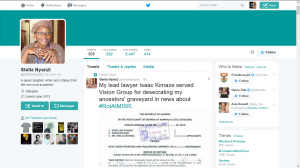 A fake Twitter handle of @drstellanyanzi with only a handful of tweets and followers