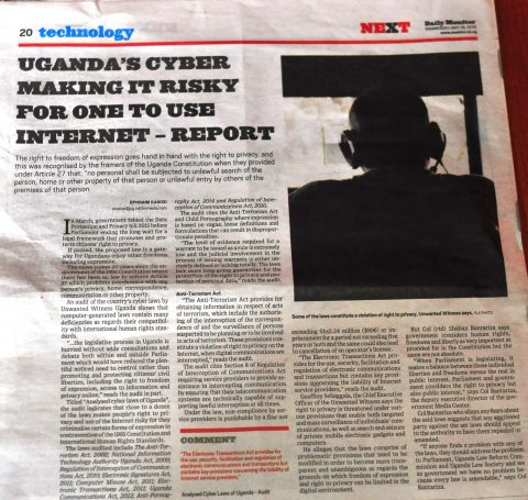 Uganda's Cyber Making it risky for one to Use.