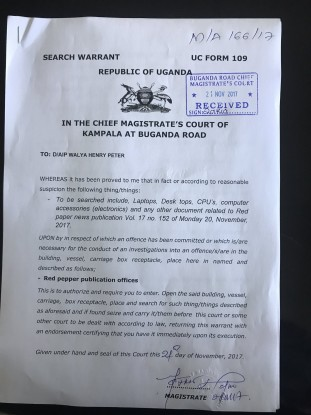 The Search warrant obtained by AIP Henry Walya